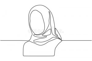 continuous-single-drawn-one-line-girl-muslim-woman-vector-hijab-scarf-portrait-hand-drawn-sketch-simplicity-style-continuous-163925804